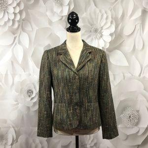 Sag Harbor Green Tweed Lined Blazer 12p